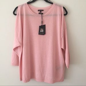 Massimo Dutti Cold Shoulder 3,/4 Sleeve Knit Top